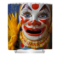 Old Clown Bank Shower Curtain by Garry Gay