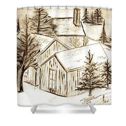 Shower Curtain featuring the drawing Old Colorado by Shannon Harrington