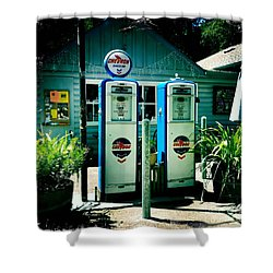 Old Fashioned Gas Station Shower Curtain