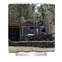 Shower Curtain featuring the photograph Old Filling Station by Athena Mckinzie