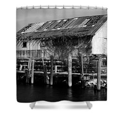 Old Fishing Wharf Shower Curtain by Karen Harrison