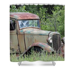 Shower Curtain featuring the photograph Abandoned Truck In Field by Athena Mckinzie