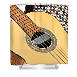 Old Guitar In A Chair Shower Curtain
