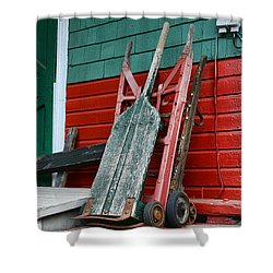 Old Hand Trucks Shower Curtain by Paul Ward
