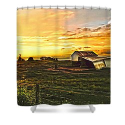 Old Horse Shed At Sundown Shower Curtain by Randall Branham