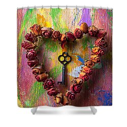 Old Key And Rose Heart Shower Curtain by Garry Gay