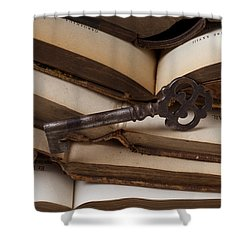 Old Key On Books Shower Curtain by Garry Gay