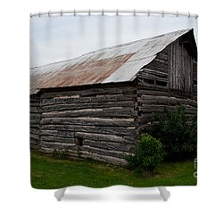 Shower Curtain featuring the photograph Old Log Building by Barbara McMahon