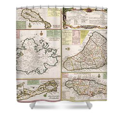 Old Map Of English Colonies In The Caribbean Shower Curtain by German School