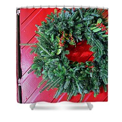 Old Mill Of Guilford Door Wreath Shower Curtain by Sandi OReilly