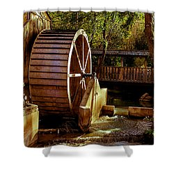 Old Mill Park Wheel Shower Curtain by Robert Bales