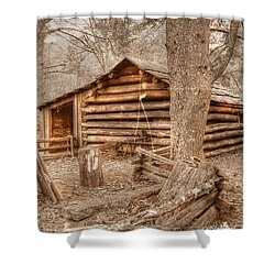 Old Mill Work Cabin Shower Curtain by Dan Stone
