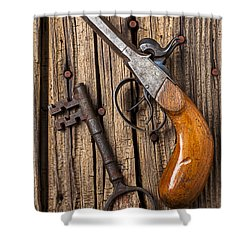 Old Pistol And Skeleton Key Shower Curtain by Garry Gay