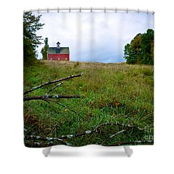 Old Red Barn On The Hill Shower Curtain by Edward Fielding