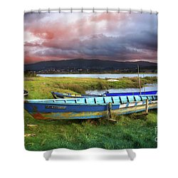 Old Row Boats Shower Curtain by Carlos Caetano