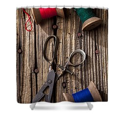 Old Scissors And Spools Of Thread Shower Curtain by Garry Gay