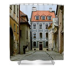 Shower Curtain featuring the photograph Old Street In Bratislava by Les Palenik