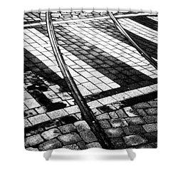 Old Tracks Made New Shower Curtain by Hakon Soreide