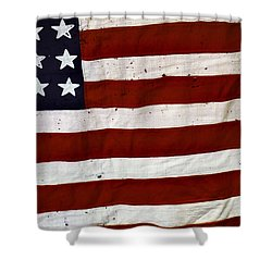 Old Usa Flag Shower Curtain by Carlos Caetano