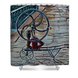 Old Wine Pump Shower Curtain by Dany Lison