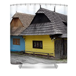 Shower Curtain featuring the photograph Old Wooden Homes by Les Palenik