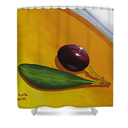 Olive In Olive Oil Shower Curtain by Kayleigh Semeniuk