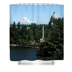 Olympia Wa Capitol And Mt Rainier Shower Curtain