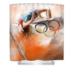 Olympics High Jump Gold Medal Ivan Ukhov Shower Curtain by Miki De Goodaboom