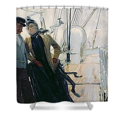 On Deck Shower Curtain by Louis Anet Sabatier