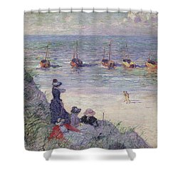 On The Dunes Shower Curtain by Theo van Rysselberghe