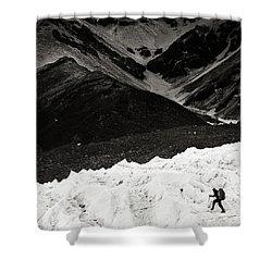 On The Glacier Shower Curtain by Konstantin Dikovsky