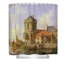 On The Rhine Shower Curtain by Cornelius Springer