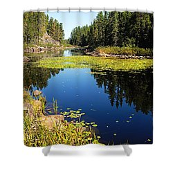 On The Way To East Lunch Lake Shower Curtain by Larry Ricker