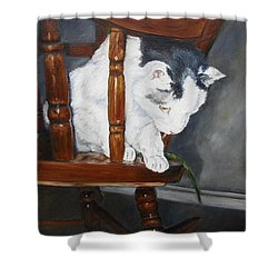 Shower Curtain featuring the painting Oops by Lori Brackett