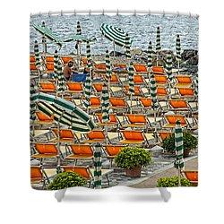 Orange Beach Chairs  Shower Curtain by Mauro Celotti