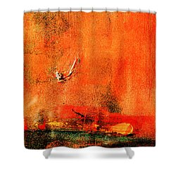 Shower Curtain featuring the painting Orange Glow by Carolyn Repka