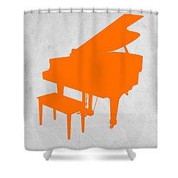 Orange Piano Shower Curtain by Naxart Studio