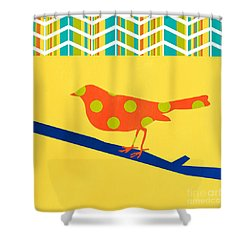 Orange Polka Dot Bird Shower Curtain by Linda Woods