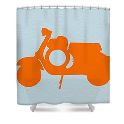 Orange Scooter Shower Curtain by Naxart Studio