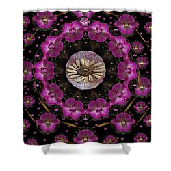 Orchids And Fantasy Flowers Shower Curtain by Pepita Selles