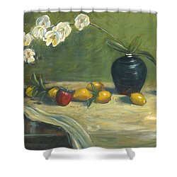 Shower Curtain featuring the painting Orchids And Vase by Marlyn Boyd
