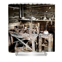 Ore Assay Shop Work Bench - Molson Ghost Town Shower Curtain by Daniel Hagerman