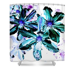 Organic Techno Flowers Shower Curtain by Lisa Brandel