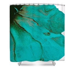 Original Aceo Flower Painting Tidal Shower Curtain by Catherine Jeltes