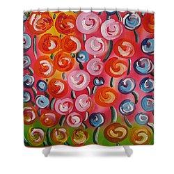 Original Modern Impasto Flowers Painting  Shower Curtain