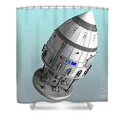 Orion-drive Spacecraft In Standard Shower Curtain by Rhys Taylor