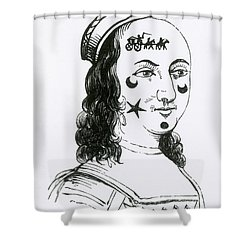 Ornamental Patches On Face, 17th Century Shower Curtain by Photo Researchers