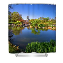 Osaka Garden Pond Shower Curtain