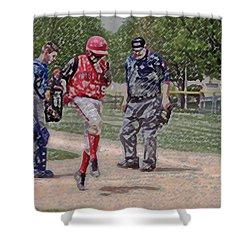 Ouch Baseball Foul Ball Digital Art Shower Curtain by Thomas Woolworth