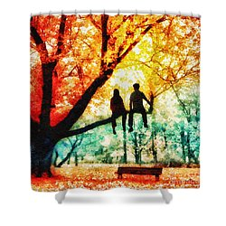 Our Spot Shower Curtain by Mo T